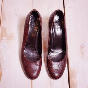 Gucci Brown/Red Leather GG Monogram Heels Size 7B